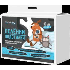 Пелёнки-подстилки впитывающие одноразовые для животных Dez Fabrika 60х60см (10шт)