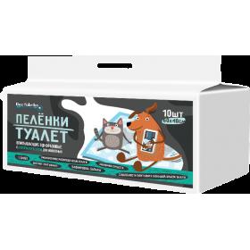 Пелёнки-туалет впитывающие одноразовые с суперабсорбентом для животных Dez Fabrika 60х40см (10шт)
