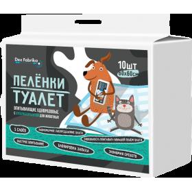 Пелёнки-туалет впитывающие одноразовые с суперабсорбентом для животных Dez Fabrika 60х60см (10шт)