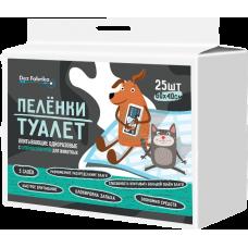 Пелёнки-туалет впитывающие одноразовые с суперабсорбентом для животных Dez Fabrika 60х40см (25шт)